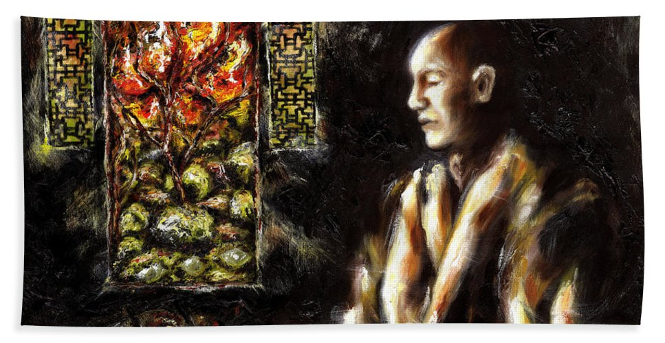 Zen Beach Sheet featuring the painting Silence by Hiroko Sakai