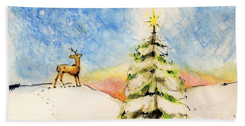 Christmas Beach Towel featuring the painting Silent Night by Angel Ciesniarska