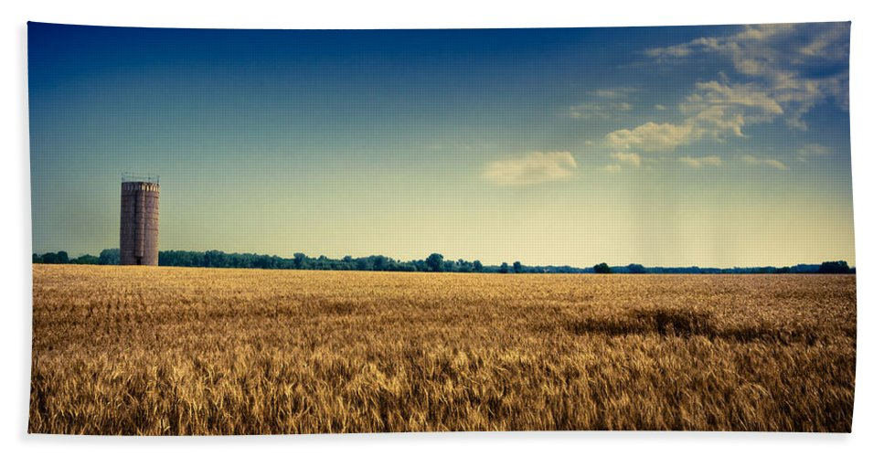 Wheat Beach Towel featuring the photograph Silo In Wheat by Eric Benjamin