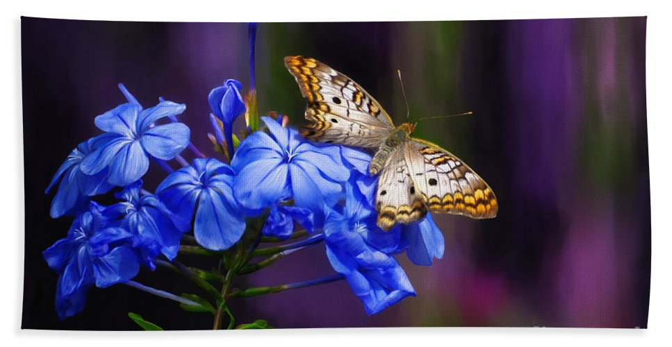 Butterfly Beach Towel featuring the digital art Silver And Gold by Lois Bryan