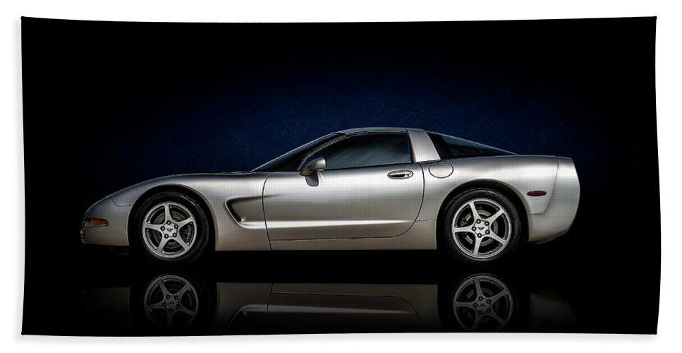 Corvette Beach Towel featuring the digital art Silver Bullet by Douglas Pittman