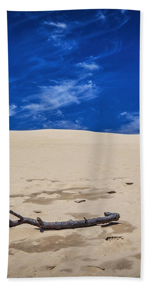 Art Beach Towel featuring the photograph Silver Lake Dune With Dead Tree Branch And Cirrus Clouds by Randall Nyhof