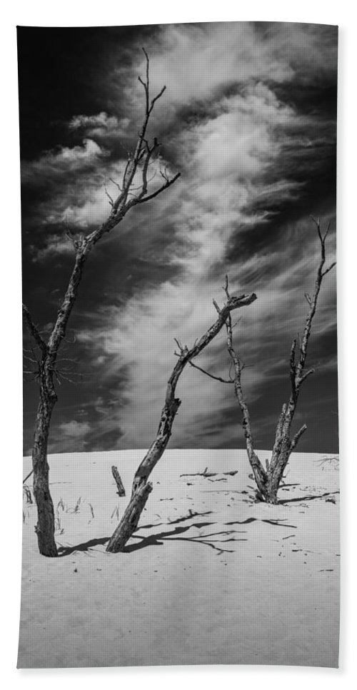 Art Beach Towel featuring the photograph Silver Lake Dune With Dead Trees And Cirrus Clouds In Black And White by Randall Nyhof