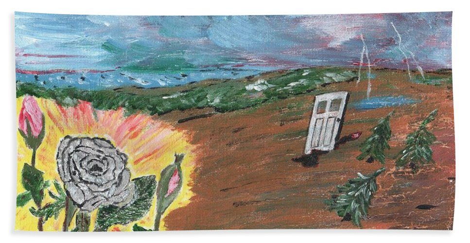 Flower Beach Towel featuring the painting Silver Rose by Cliff Wilson