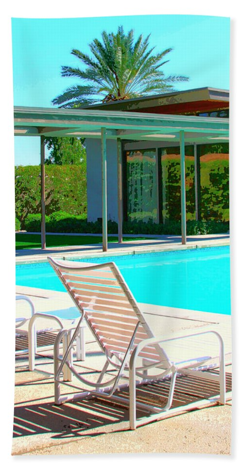 Sinatra House Beach Towel featuring the photograph Sinatra Pool Palm Springs by William Dey