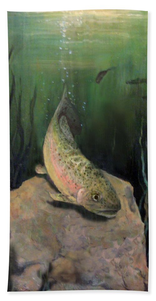 Nature Beach Towel featuring the painting Single Trout by Donna Tucker