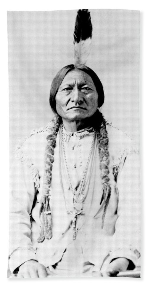 Native American Beach Towel featuring the photograph Sioux Chief Sitting Bull by War Is Hell Store