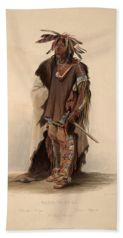 Karl Bodmer Beach Towel featuring the painting Sioux Warrior by Karl Bodmer