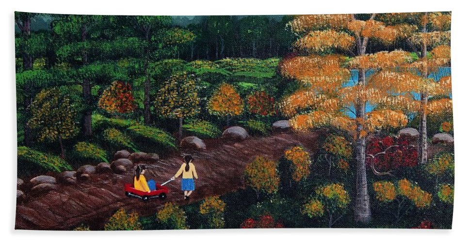 Barbara Griffin Beach Towel featuring the painting Sister's Autumn Stroll by Barbara Griffin