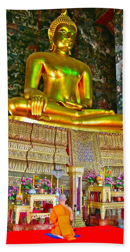 Sitting Buddha In Wat Suthat In Bangkok Beach Towel featuring the photograph Sitting Buddha In Wat Suthat In Bangkok-thailand by Ruth Hager