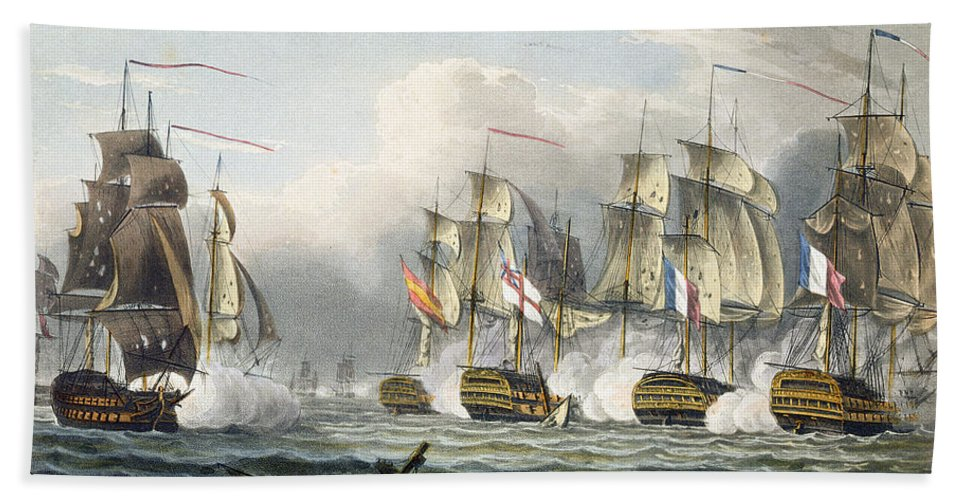 Naval Beach Towel featuring the painting Situation Of The Hms Bellerophon by Thomas Whitcombe
