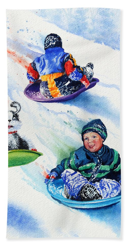 Children With Dog Painting Beach Towel featuring the painting Sizzling Saucers by Hanne Lore Koehler