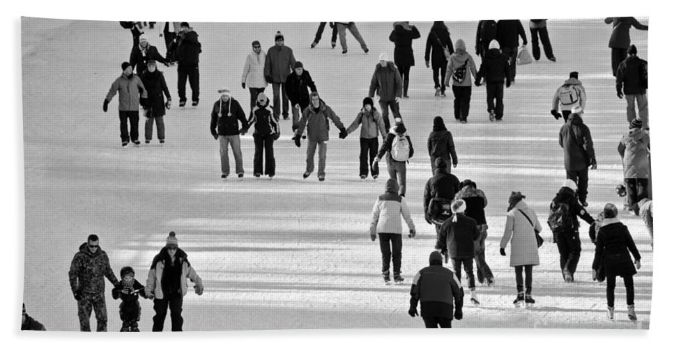 Winterlude Beach Towel featuring the photograph Skating In Black And White by Cheryl Baxter