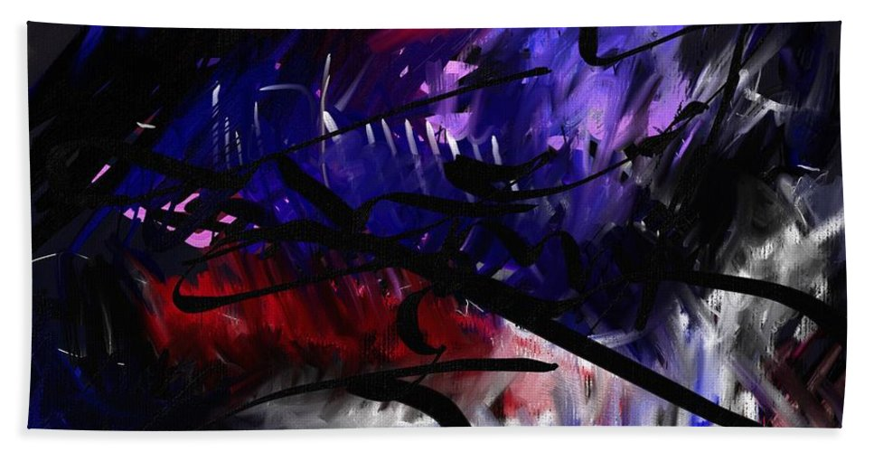 Abstract Paointing Beach Towel featuring the painting Sketch1 by Wolfgang Schweizer