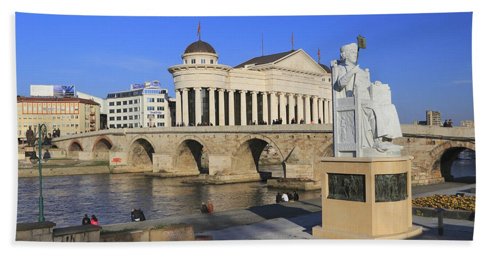 Archaeological Beach Towel featuring the photograph Skopje City Center Macedonia by Ivan Pendjakov