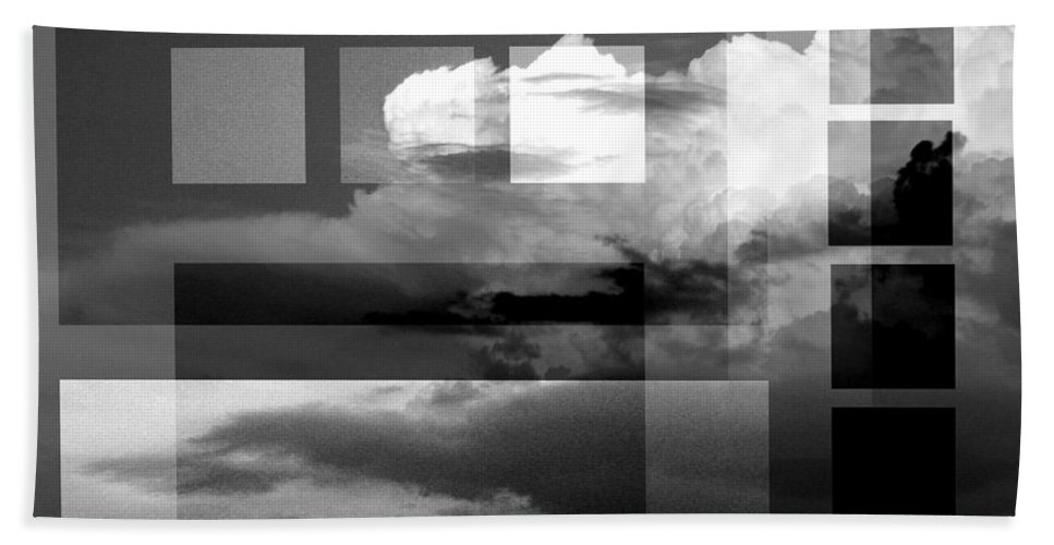 Black And White Abstract Photography Beach Towel featuring the photograph Sky collage BW by Steve Karol