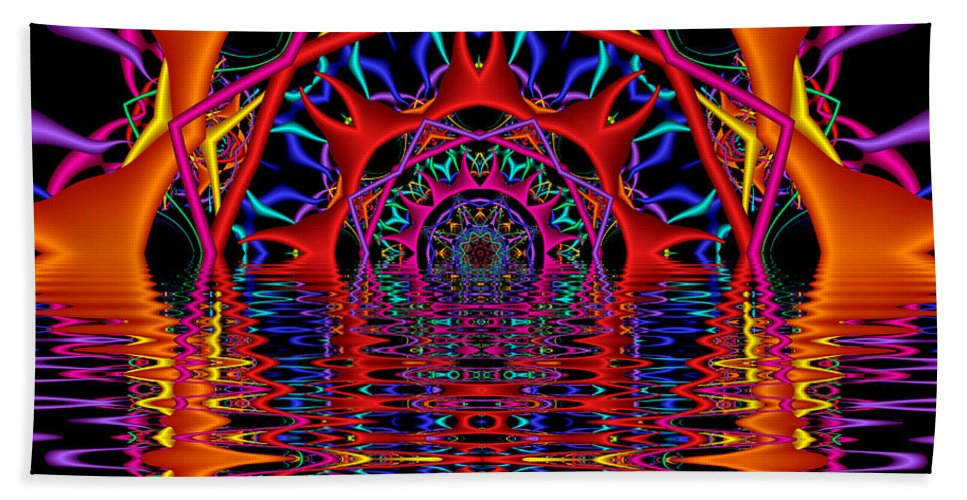 Sky Fire Beach Towel featuring the digital art Sky Fire by Kimberly Hansen