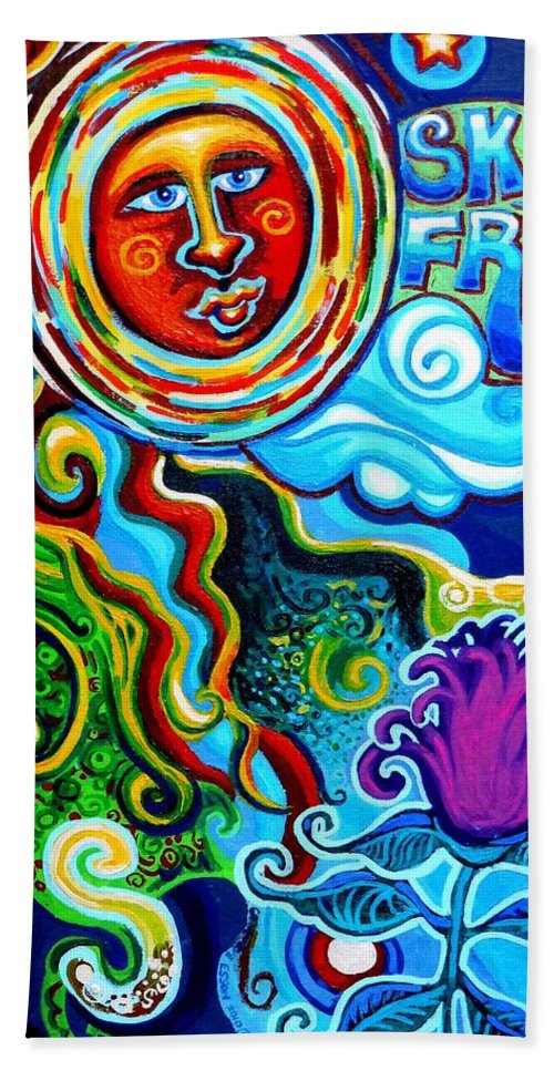 Sky Fruit Beach Towel featuring the painting Sky Fruit by Genevieve Esson