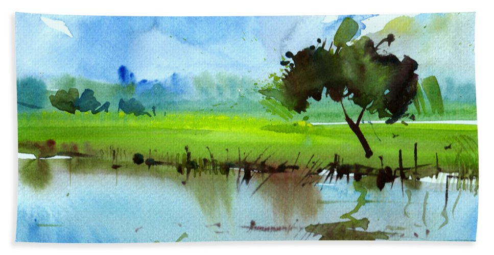 Nature Beach Towel featuring the painting Sky N Farmland by Anil Nene