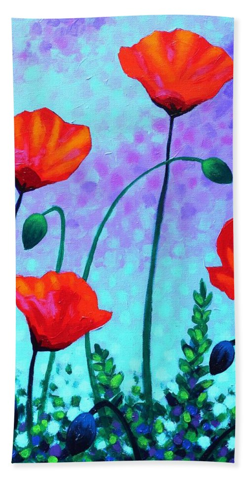 Acrylic Beach Towel featuring the painting Sky Poppies by John Nolan