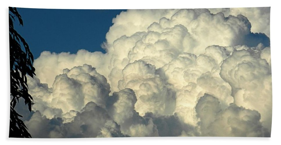Cloud Beach Towel featuring the photograph Skyward Sculpture by Sharon Woerner