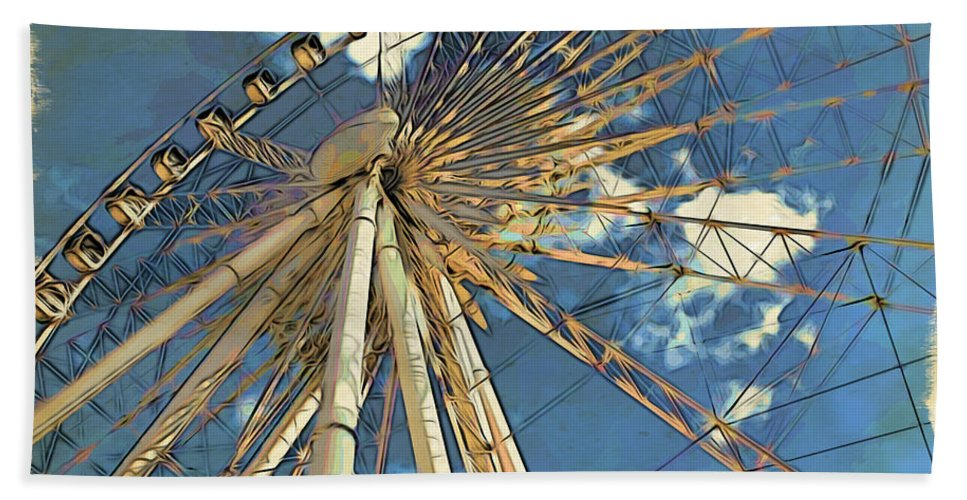 Skywheel Beach Towel featuring the photograph Skywheel At Niagara View by Alice Gipson