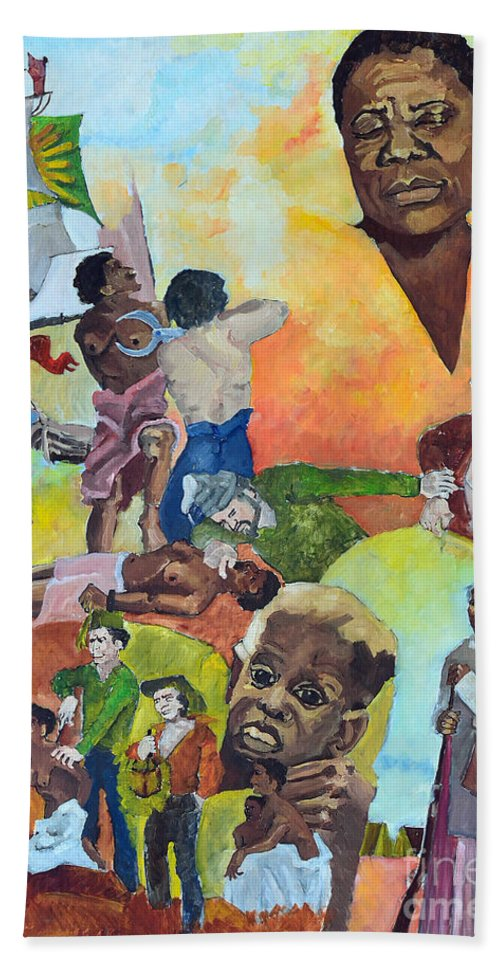 Slavery Beach Towel featuring the painting Slave Women by Charles M Williams