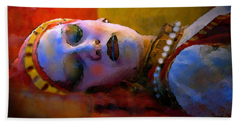 Sleeping Beauty Beach Towel featuring the painting Sleeping Beauty In Waiting by David Lee Thompson