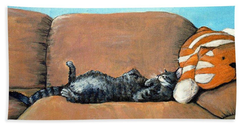 Calm Beach Towel featuring the painting Sleeping Cat by Anastasiya Malakhova