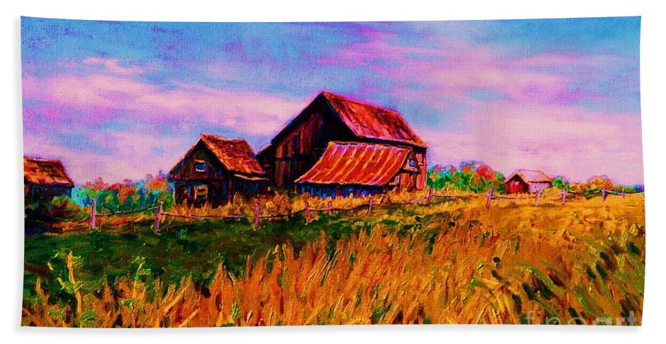 Rustic Barns Beach Towel featuring the painting Slendor In The Grass by Carole Spandau