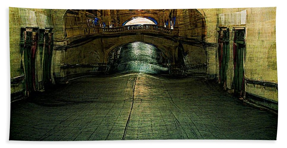 Archway Beach Towel featuring the painting Slouching Towards Bethlehem by RC DeWinter