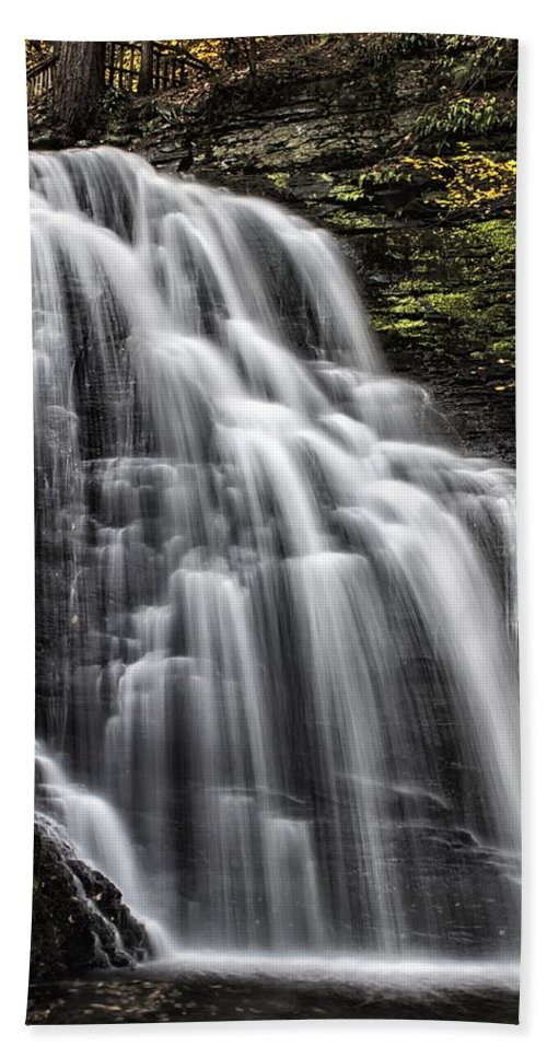 Bushkill Falls Beach Towel featuring the photograph Slow Fall by Rob Dietrich