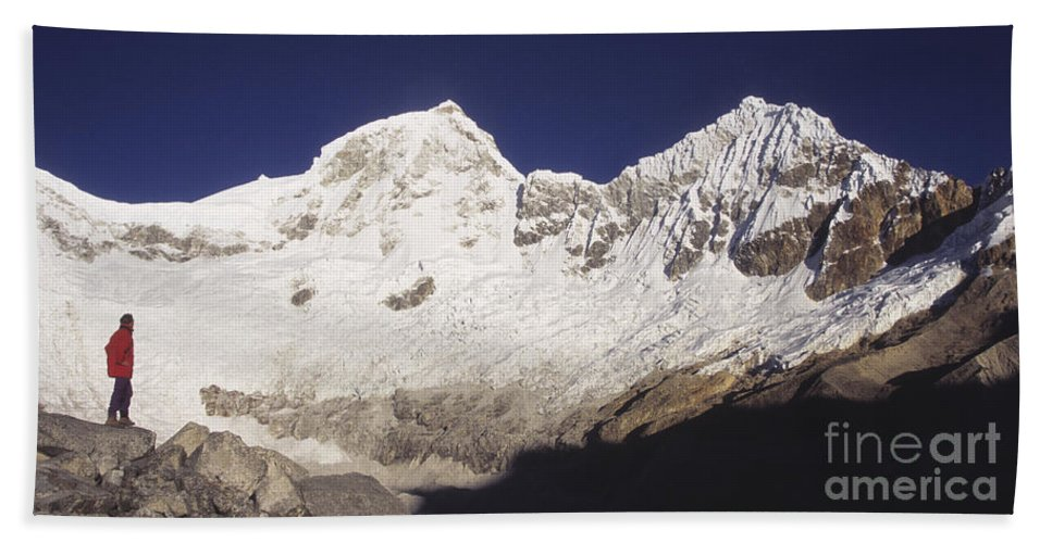 Peru Beach Towel featuring the photograph Small Climber Big Peaks by James Brunker
