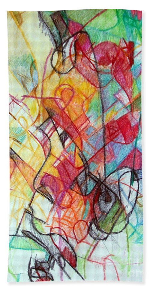 Torah Beach Towel featuring the drawing True Humility 2 by David Baruch Wolk