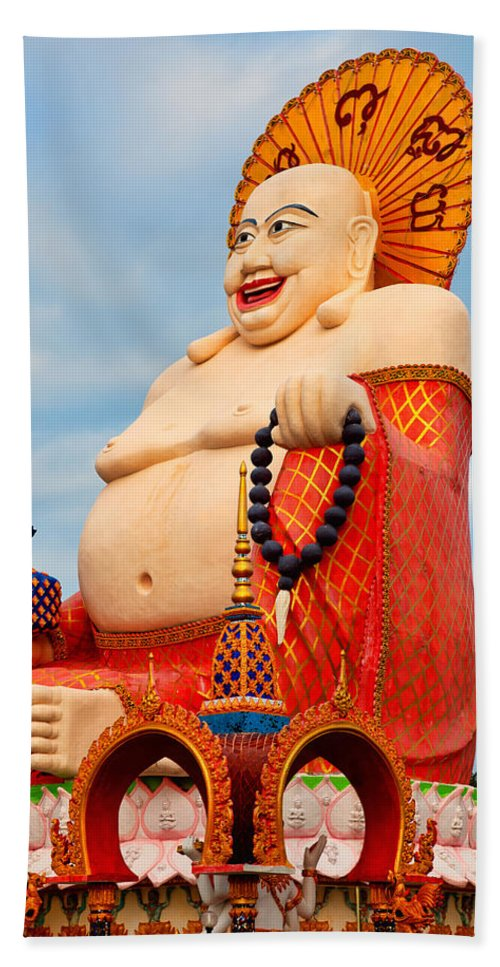 Ancient Beach Towel featuring the photograph smiling Buddha by Adrian Evans