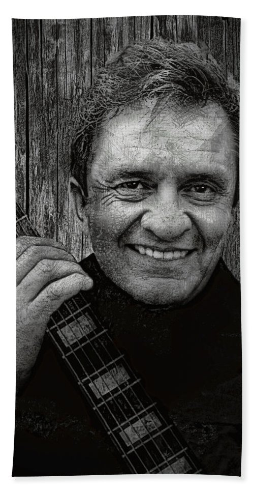johnny Cash Beach Towel featuring the digital art Smiling Johnny Cash by Daniel Hagerman