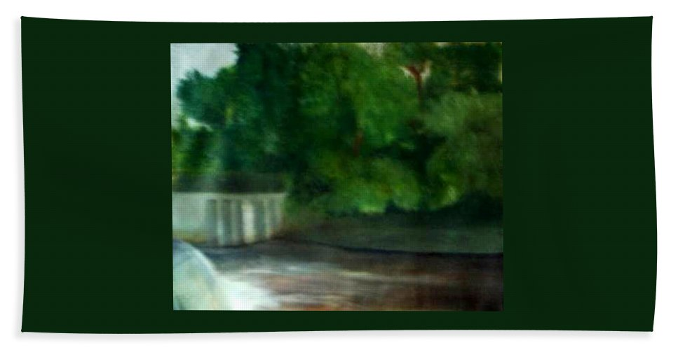 Smithville Park Beach Towel featuring the painting Smithville Park Dam by Sheila Mashaw