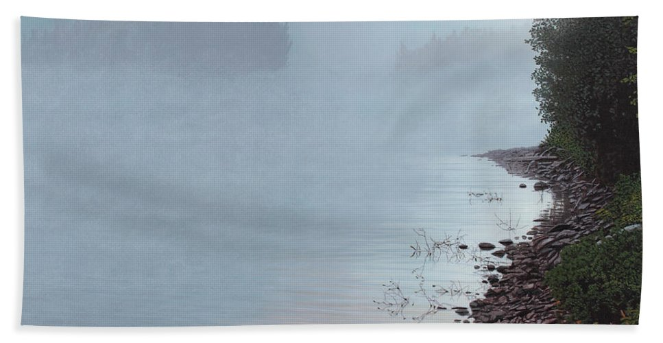 Landscape Beach Towel featuring the painting Smoke On The Water by Kenneth M Kirsch