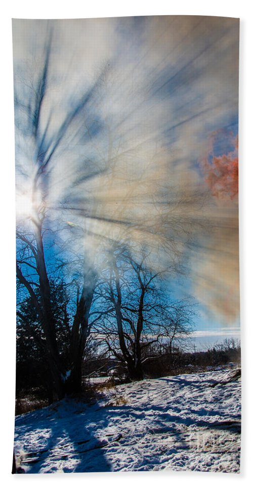 Fire Beach Towel featuring the photograph Smoke Thru The Trees by Andrew Slater