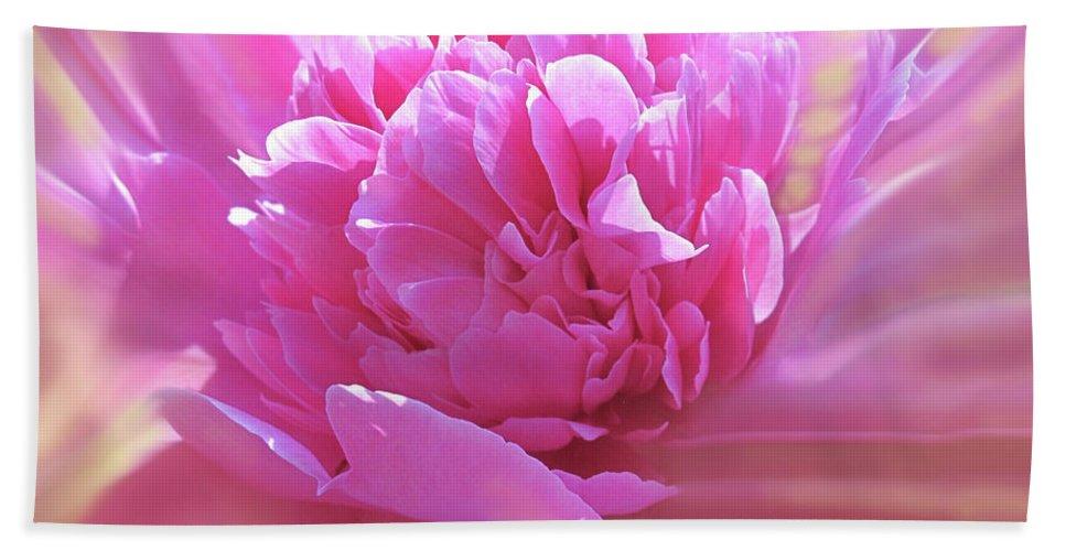 Peony Beach Towel featuring the digital art Smooth Pink by Ian MacDonald