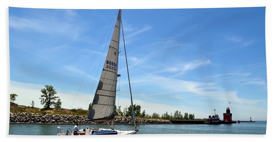 Michigan Beach Towel featuring the photograph Smooth Sailing by Michelle Calkins