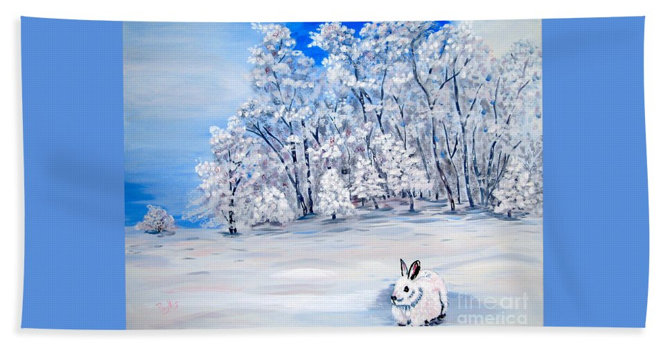 Bunny Beach Towel featuring the painting Snow Bunny by Phyllis Kaltenbach