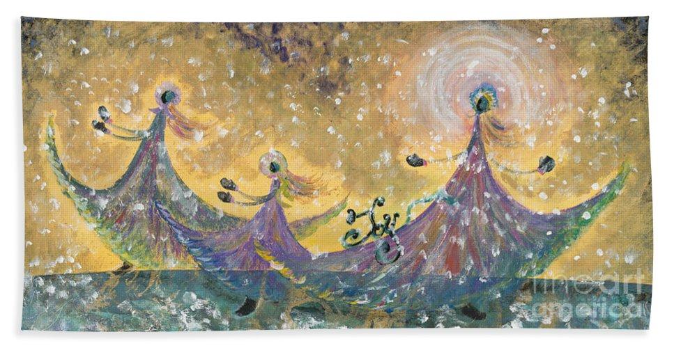 Joy Beach Towel featuring the painting Snow Joy by Nadine Rippelmeyer