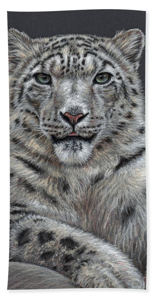 Snow Beach Towel featuring the pastel Snow Leopard by Nicole Zeug