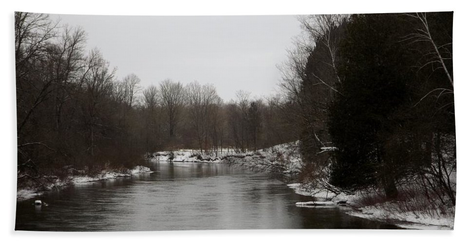 Manistee River Beach Towel featuring the photograph Snow On The Manistee River by Linda Kerkau