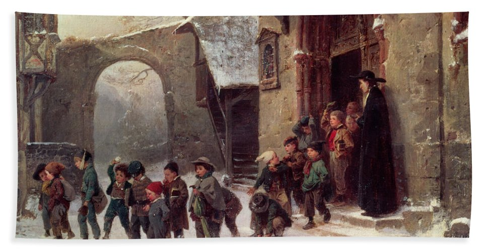 Victorian Beach Towel featuring the painting Snow Scene Children Leaving School by Marc Louis Benjamin Vautier