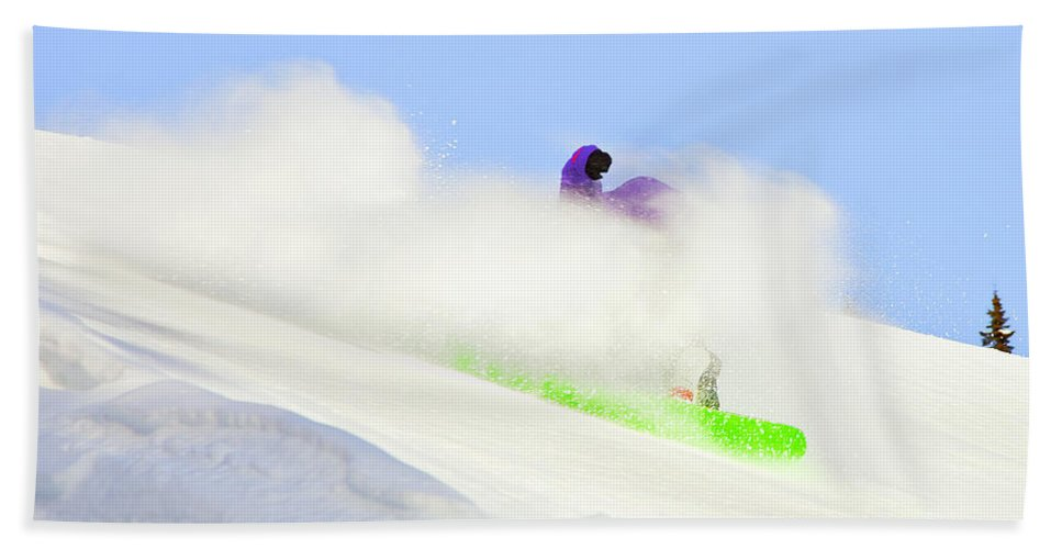 Snowboarding Beach Towel featuring the photograph Snow Spray by Theresa Tahara