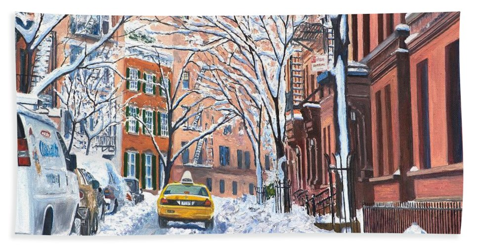 Snow Beach Towel featuring the painting Snow West Village New York City by Anthony Butera