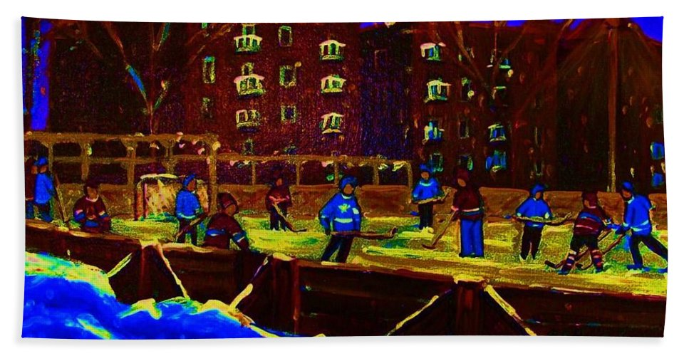 Hockey Beach Towel featuring the painting Snowing At The Rink by Carole Spandau