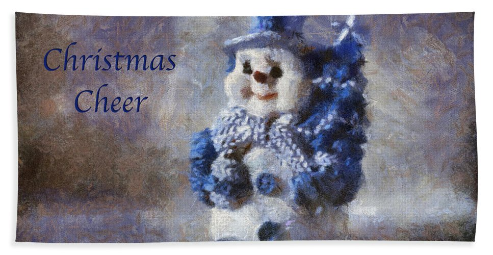 Winter Beach Towel featuring the photograph Snowman Christmas Cheer Photo Art 02 by Thomas Woolworth